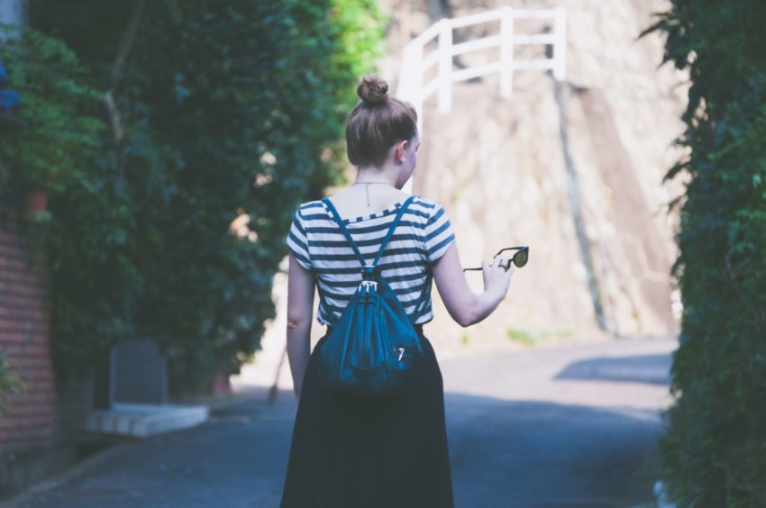 Study abroad student walking in Japan