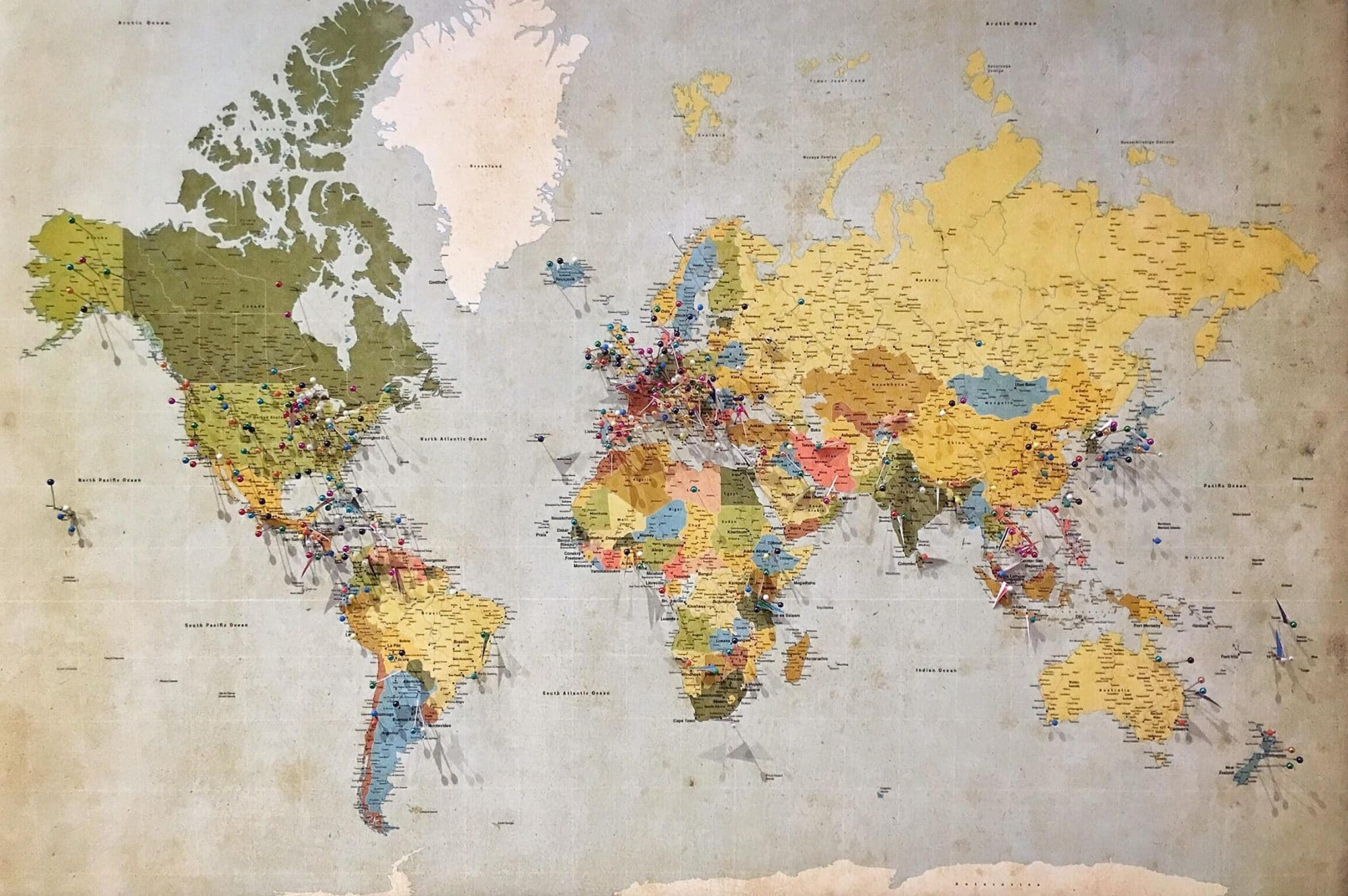 Map of all five continents