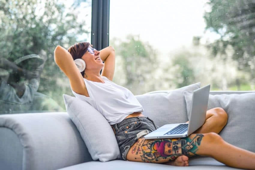 Student listening to educational podcast